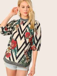 High Neck Chevron Floral Quarter Sleeve Blouse