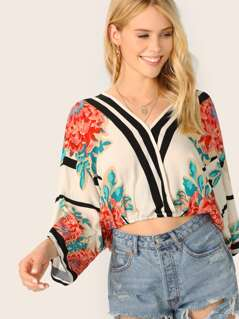 Surplice V-Neck Kimono Sleeve Floral Crop Top