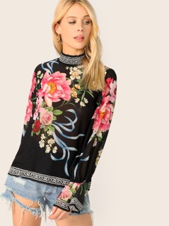High Neck Flared Sleeve Back Keyhole Floral Blouse