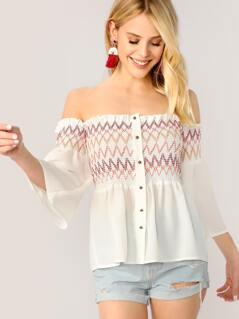 Embroidered Button Detail Smocked Off Shoulder Top