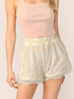 Elastic Waist Embroidered Mesh Scallop Hem Shorts