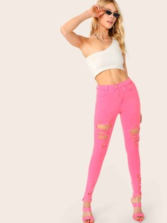 High Waisted Destroyed Raw Hem Skinny Jeans