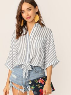 Button Up Tie Hem Front Pocket Striped Shirt