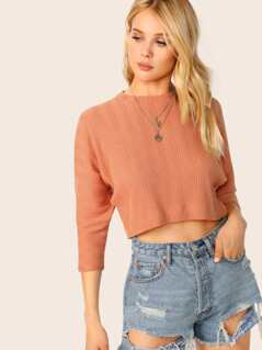 Round Neck Rib Knit Dolman Sleeve Crop Top