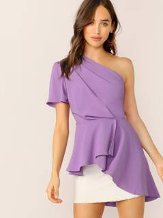 Asymmetric One Shoulder Layered Ruffle Top