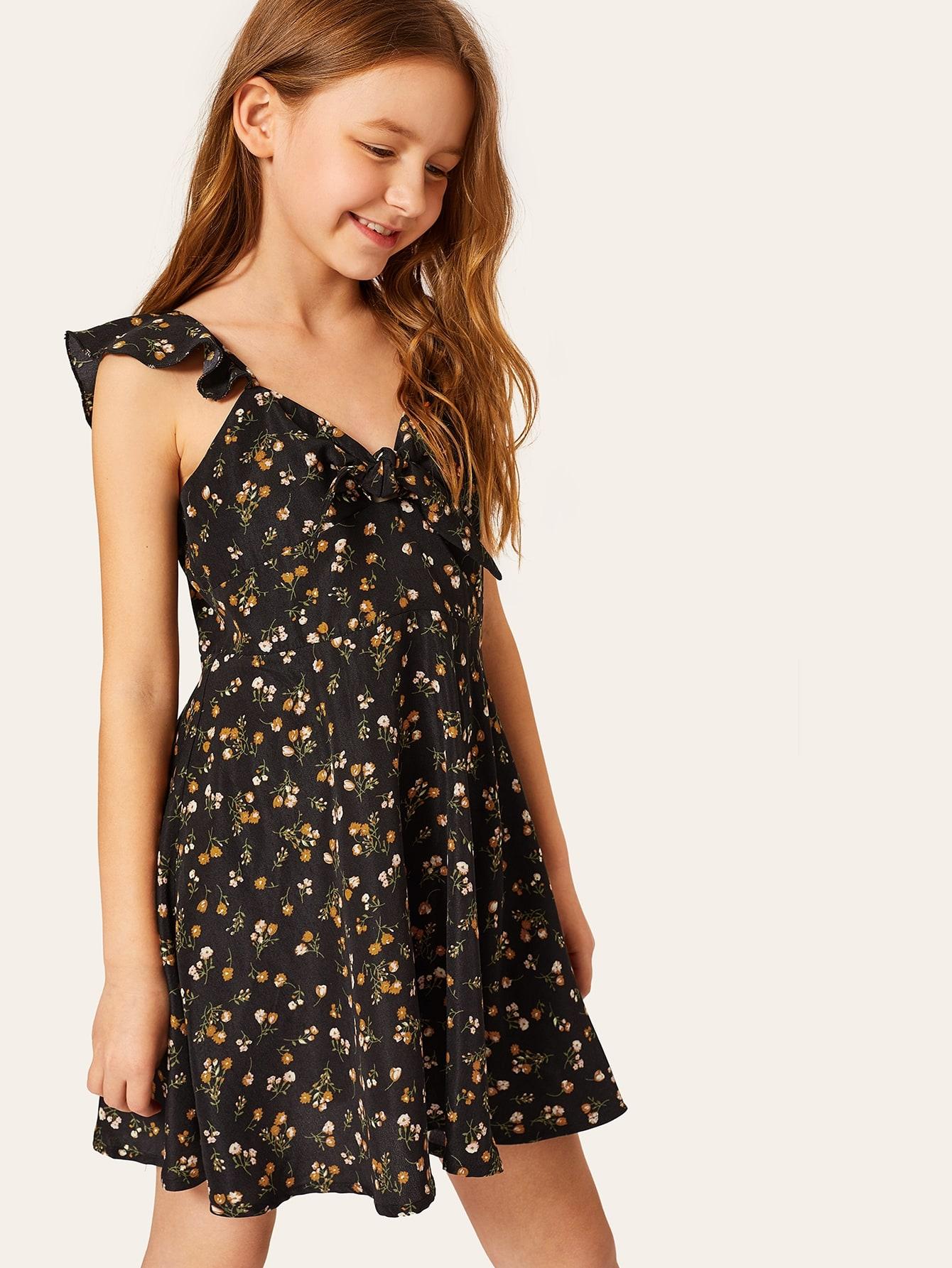 Фото - Цветочное расклешенное платье с завязкой на шее для девочек от SheIn цвет многоцветный