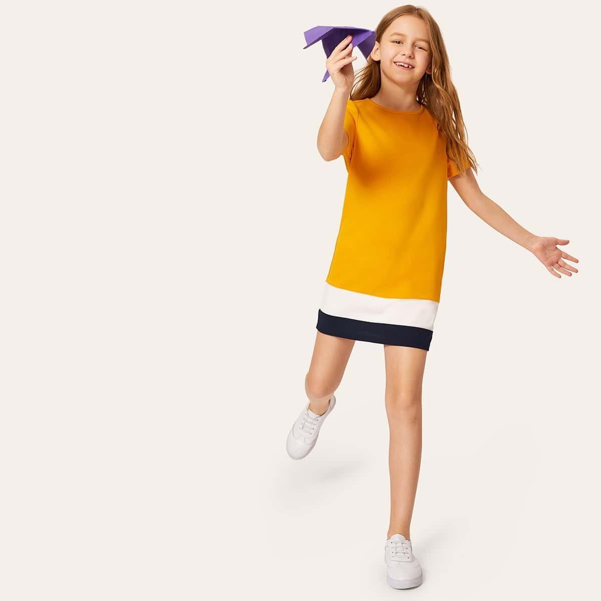Контрастное платье с круглым воротником для девочек от SHEIN