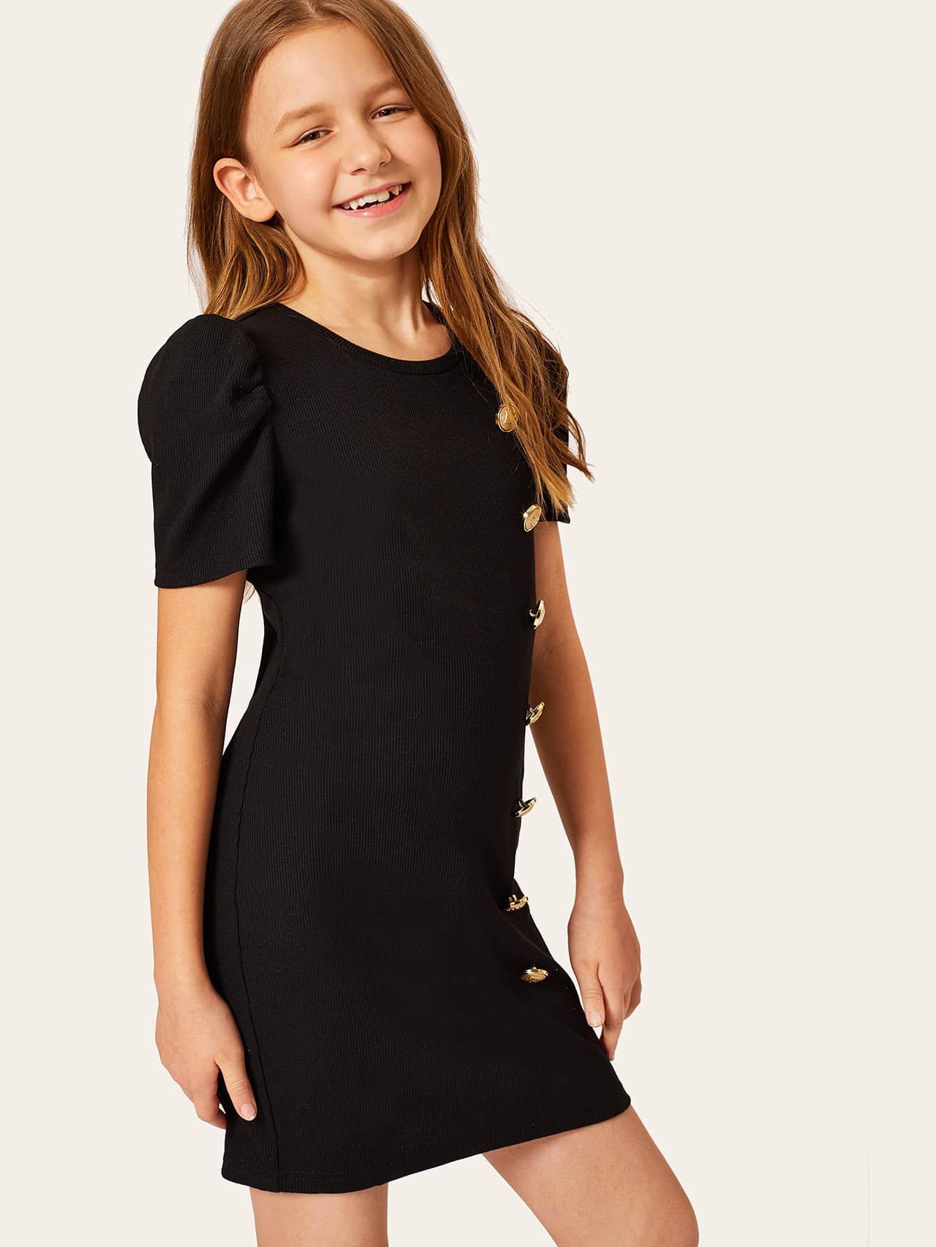 Фото - Однотонное платье с пуговицами для девочек от SheIn цвет чёрные