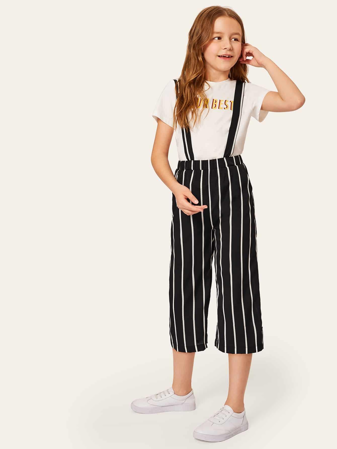 Фото - Широкие полосатые корп брюки с кулиской для девочек от SheIn цвет чёрнобелые