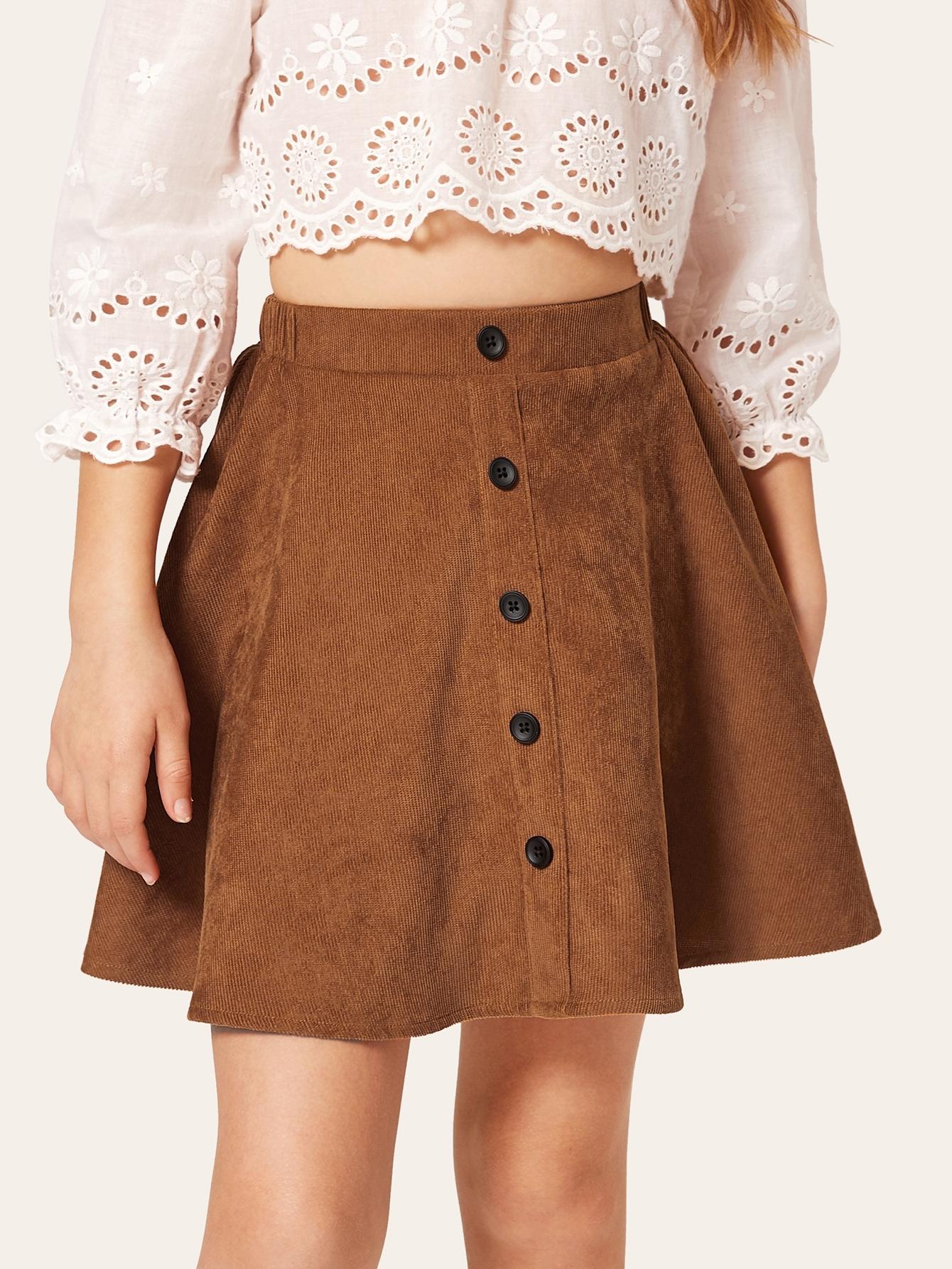 Фото - Вельветовая юбка с пуговицами для девочек от SheIn коричневого цвета