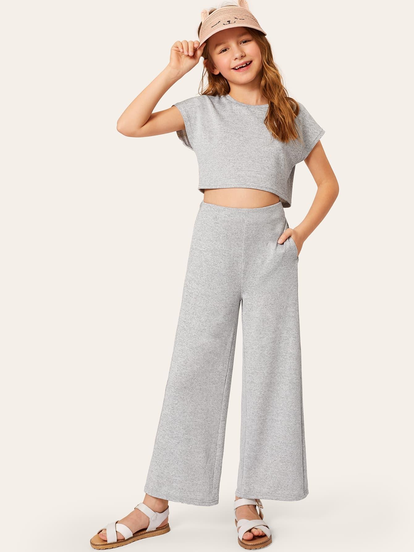 Фото - Кроп топ и широкие брюки для девочек от SheIn серого цвета