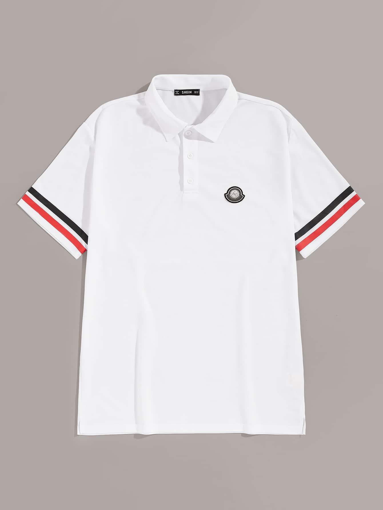 Фото - Мужская рубашка-поло с пуговицами и полосой от SheIn белого цвета