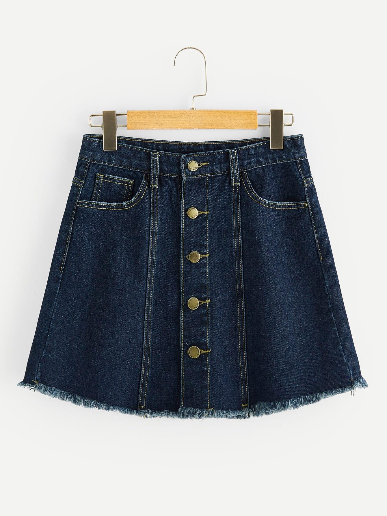 Фото - Джинсовая юбка на пуговицах с карманами от SheIn цвет темно синий