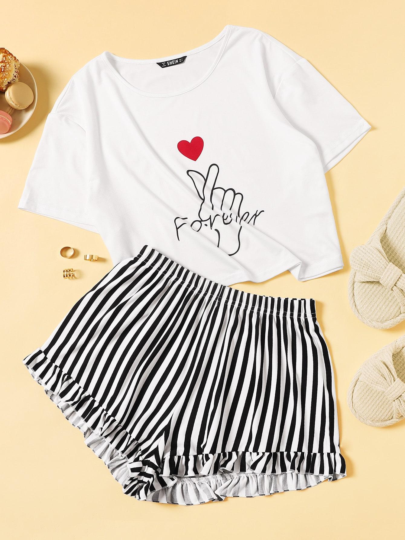Фото - Топ с текстовым и графическим принтом и полосатые шорты пижама комплект от SheIn цвет чёрнобелые