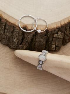 Set Of Three Opal Stone And Twist Dainty Rings