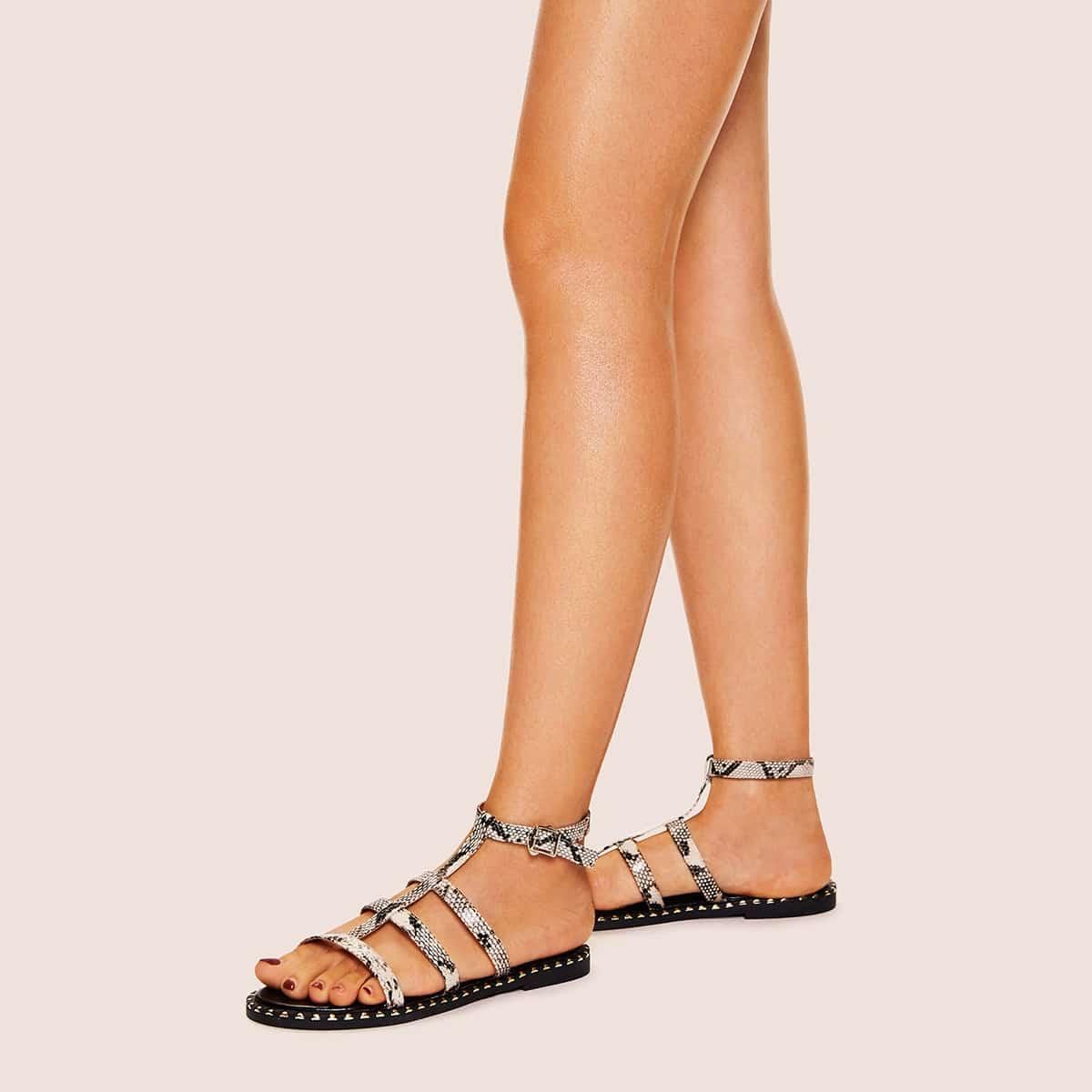 Snakeskin patroon uitgesneden platte sandalen