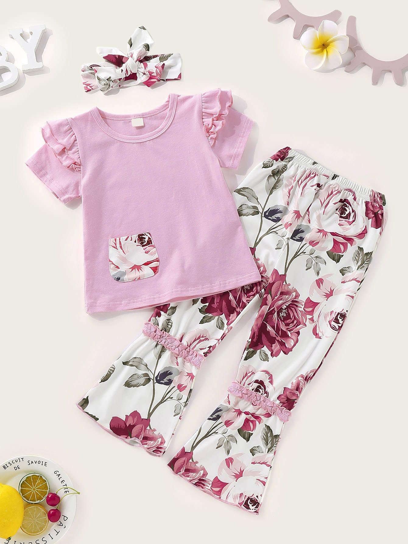 Фото - Футболку с оборкой и цветочные брюки-клёш и повязка на голову для маленьких девочек от SheIn цвет многоцветный