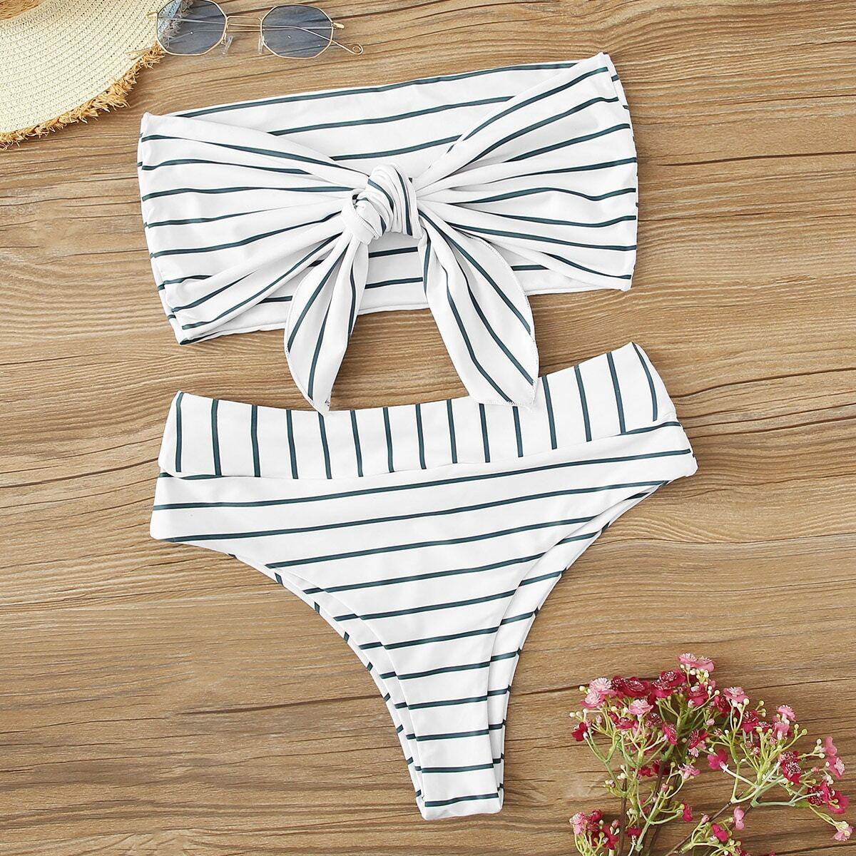 Gestreepte stropdas voorbandeau met hoge taille bikiniset