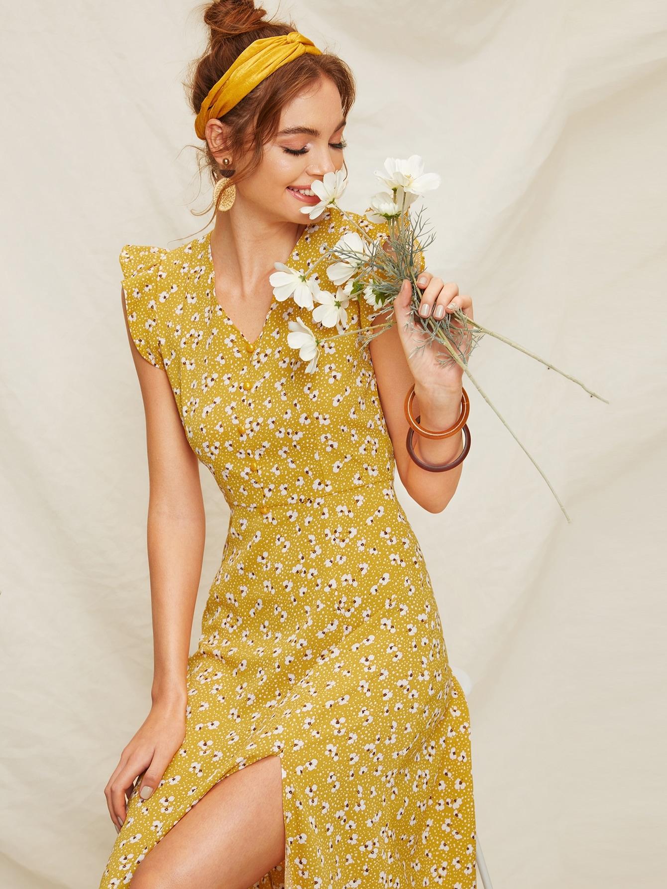 Фото - Цветочное платье с открытой спиной от SheIn цвет жёлтые