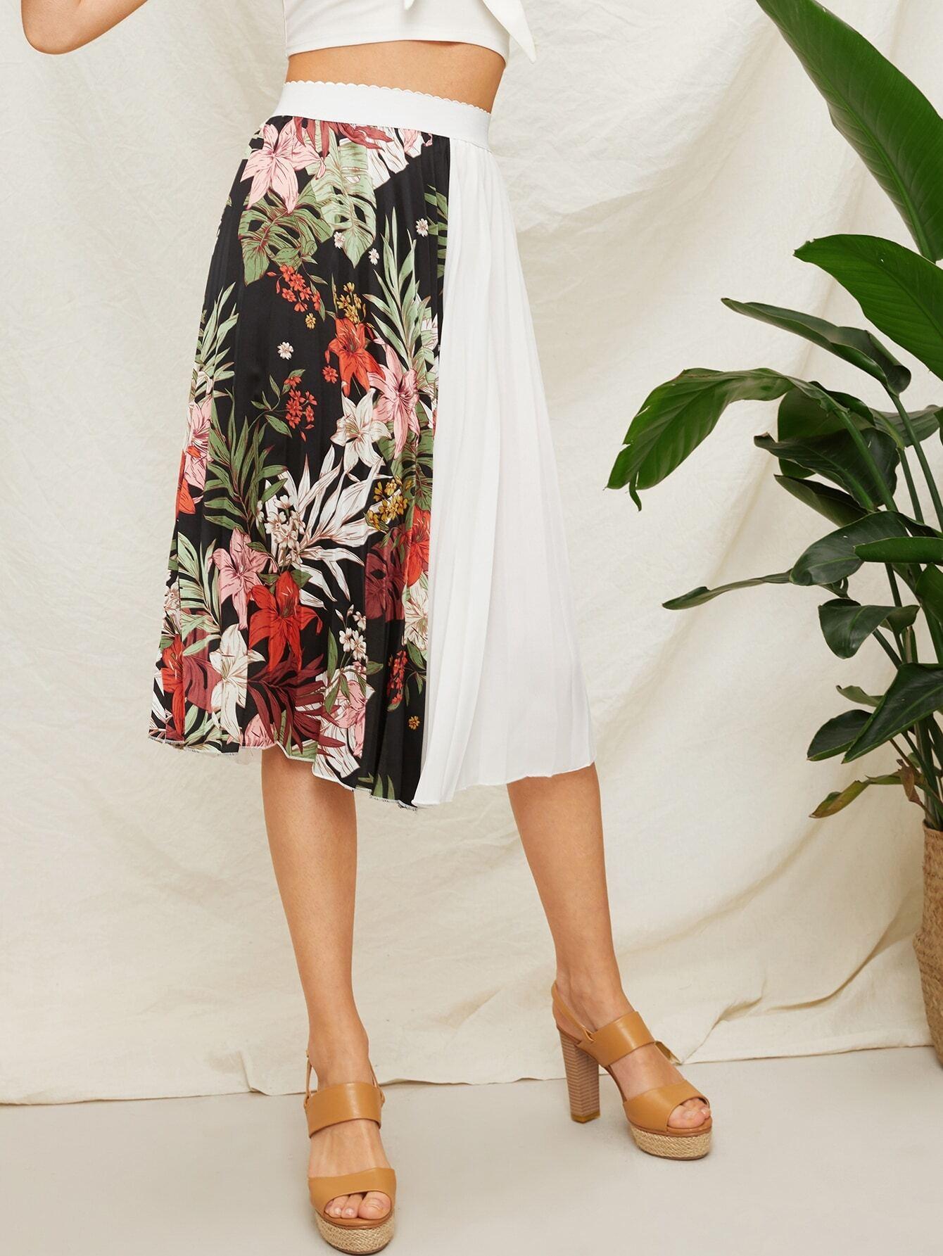Цветочная плиссированная юбка SheIn