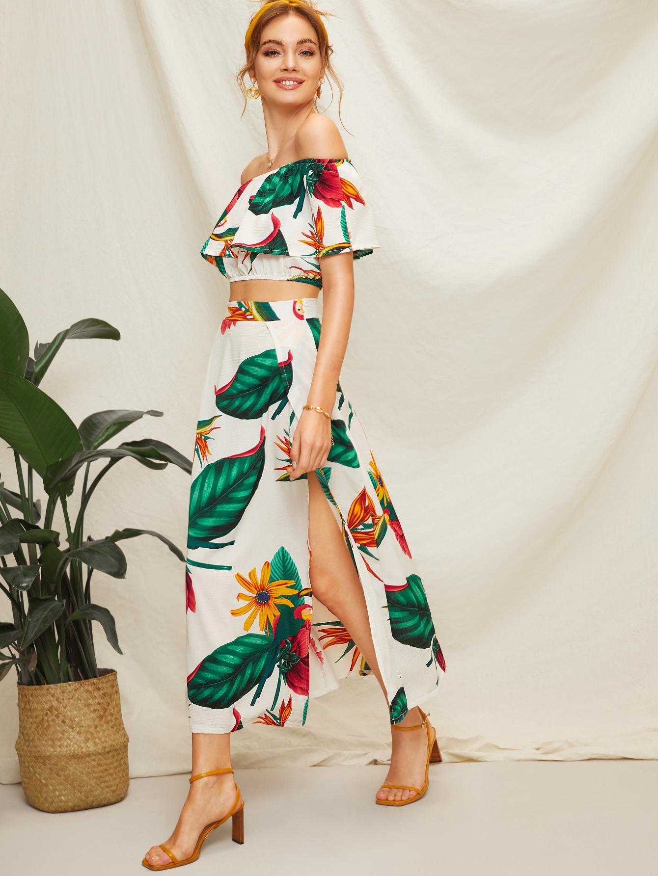 Купить Блуза с оборкой и графическим принтом и юбка с разрезом, Kristina B, SheIn