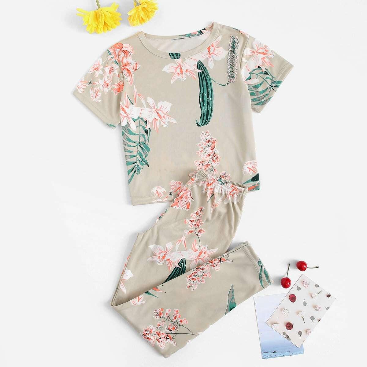 Пижама комплект с цветочным принтом для девочек от SHEIN