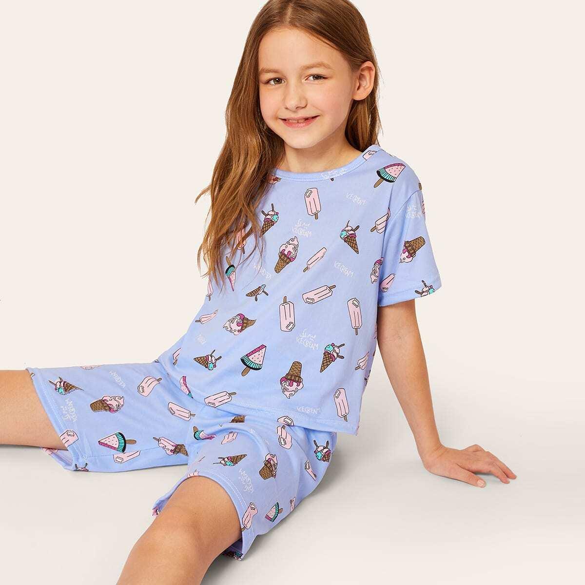 Пижама комплект с графическим принтом для девочек от SHEIN