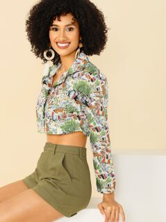 Mixed Print Crop Buttoned Jacket