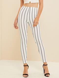 High Waist Striped Crop Leggings