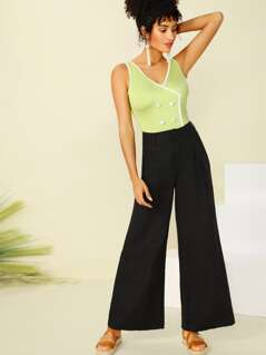 Button Detail Pleated Wide Leg Pants