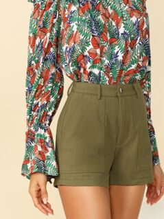 Patch Pocket Front Textured Shorts