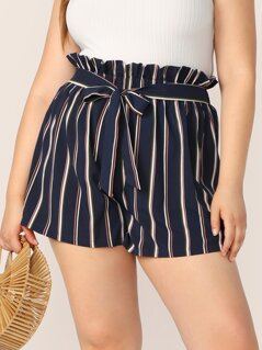 Plus Paperbag Belted Waist Striped Shorts