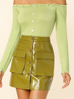 Pocket Patched Buttoned PU Leather Skirt