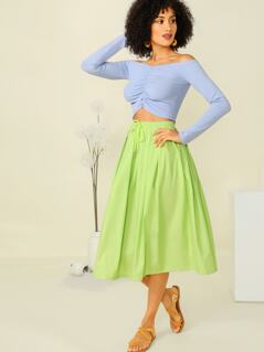 Neon Green Drawstring Waist Pleated Skirt