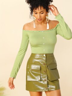 Lettuce Trim Button Front Ribbed Bardot Top