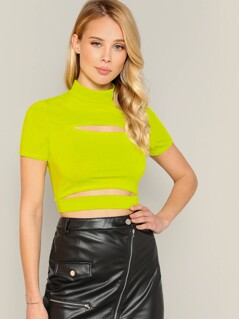 Mock-neck Cut-out Detail Neon Lime Crop Tee