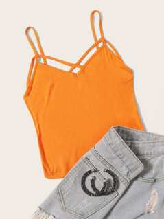 Neon Orange Strappy Neck Cami Top