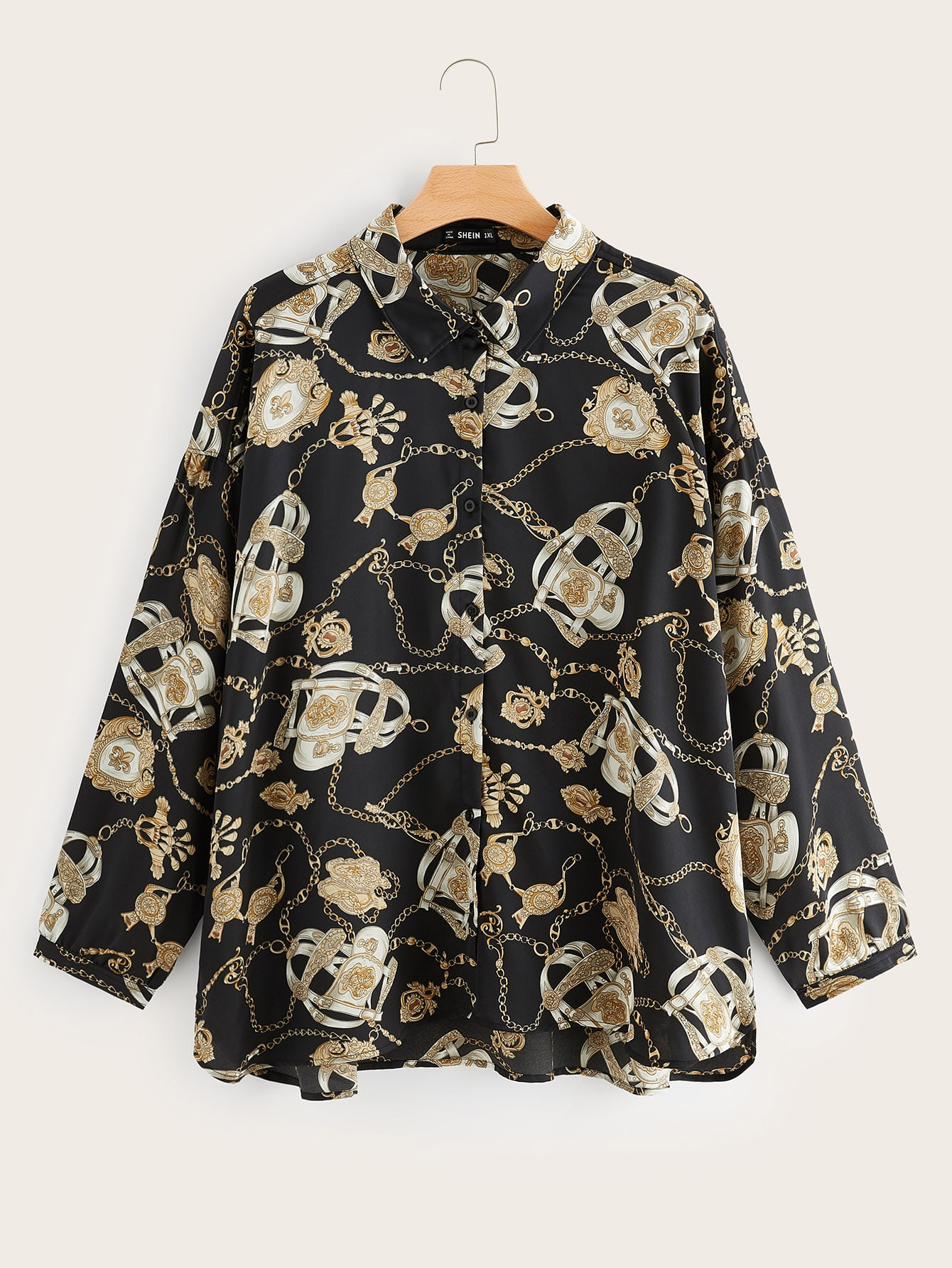 Купить Размер плюс блузка с цепным принтом, null, SheIn