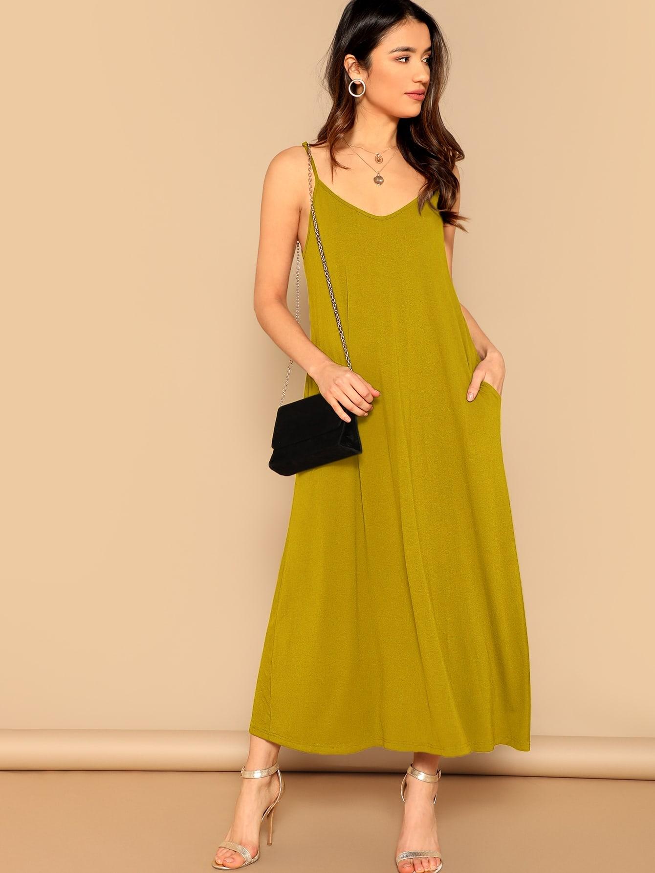 Фото - Стильное платье на бретелях с карманом от SheIn цвет жёлтые