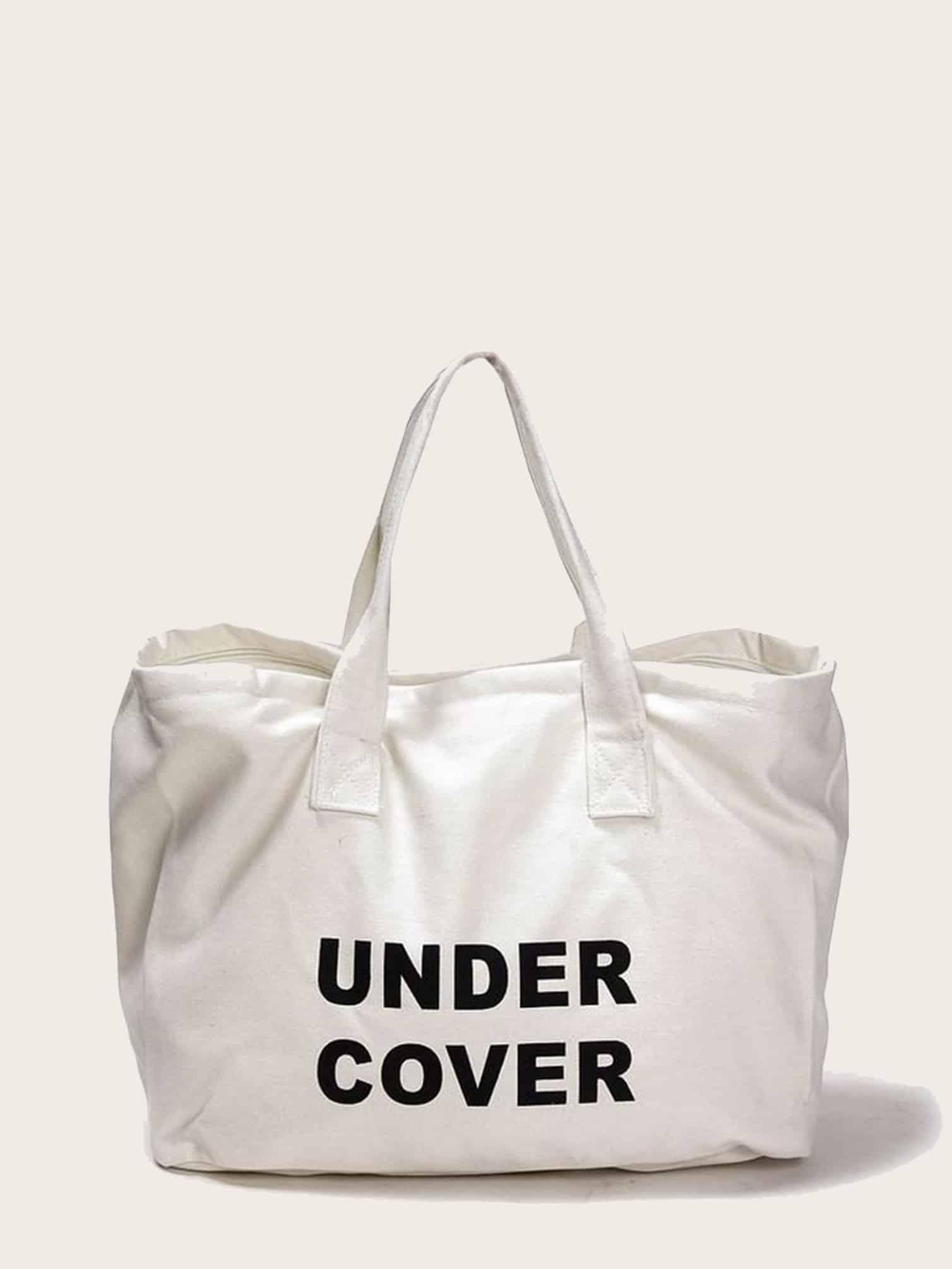 Большая сумка из плотной ткани с лозунгом SheIn