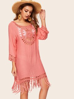 Crochet Detail Fringe Hem Cover Up