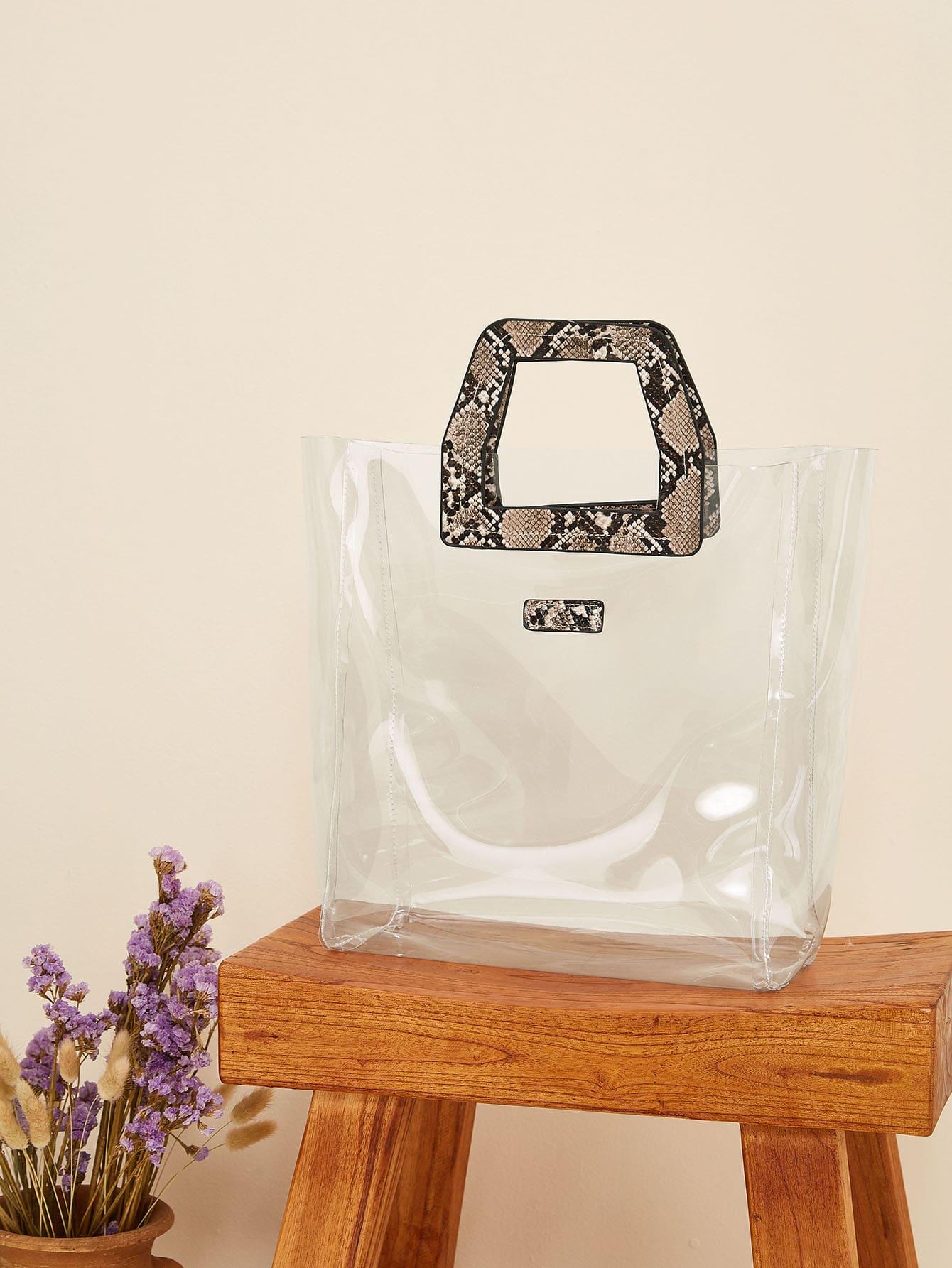 Прозрачная большая сумка с ручкой с змеиным принтом SheIn