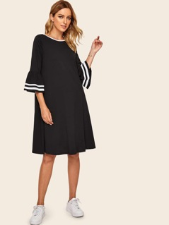 Striped Cuff Flounce Sleeve Ringer Neck Dress