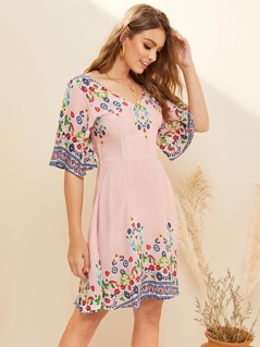 Zip Back Floral and Striped Fit & Flare Dress
