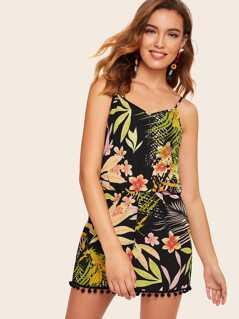 87341535a8 Tassel Hem Tropical Print Cami Romper