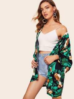 Leaf & Floral Print Kimono