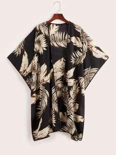 Slit Hem Tropical Print Kimono