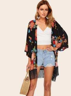 Fringe Hem Floral Print Kimono