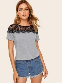 Keyhole Back Contrast Lace Heathered Gray Tee