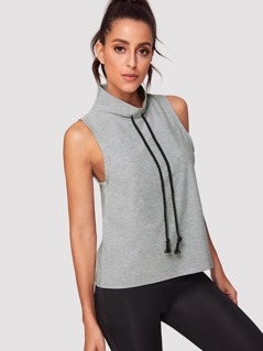 Drawstring High Neck Heather Knit Top